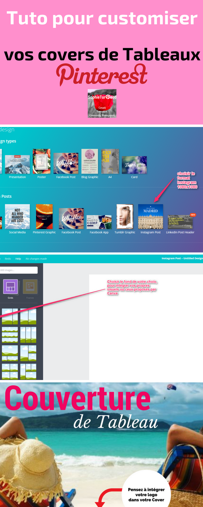 Tuto Infographie  pour customiser vos covers de tableaux Pinterest via @sophieturpaud