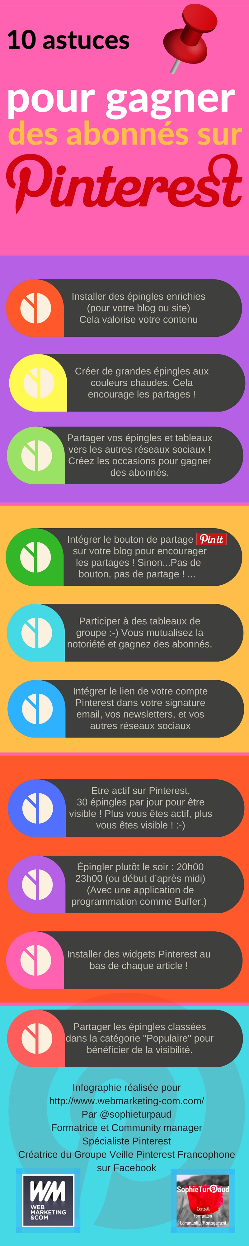 Infographie 10 astuces pour gagner des abonnés sur Pinterest via @sophieturpaud