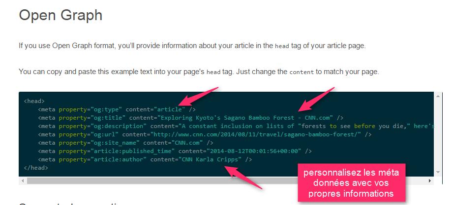 Exemple des méta données à personnaliser pour Pinterest