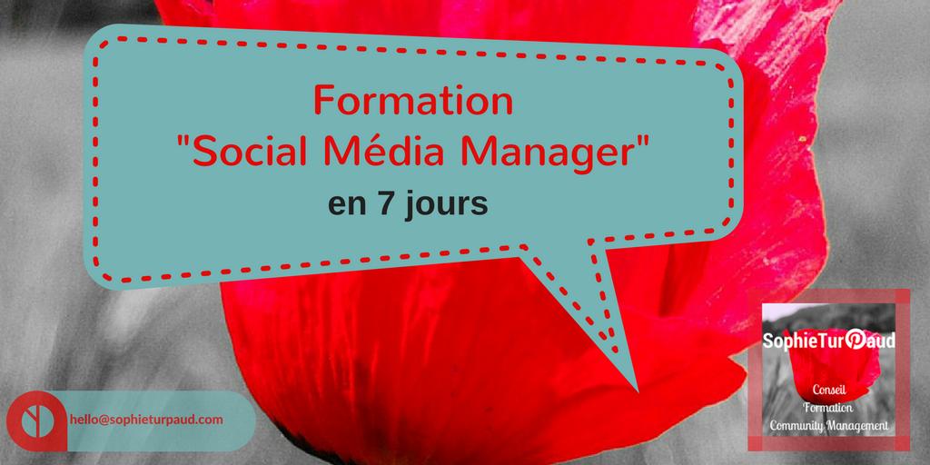 """Formation """"social média manager"""" en 7 jours via @sophieturpaud"""