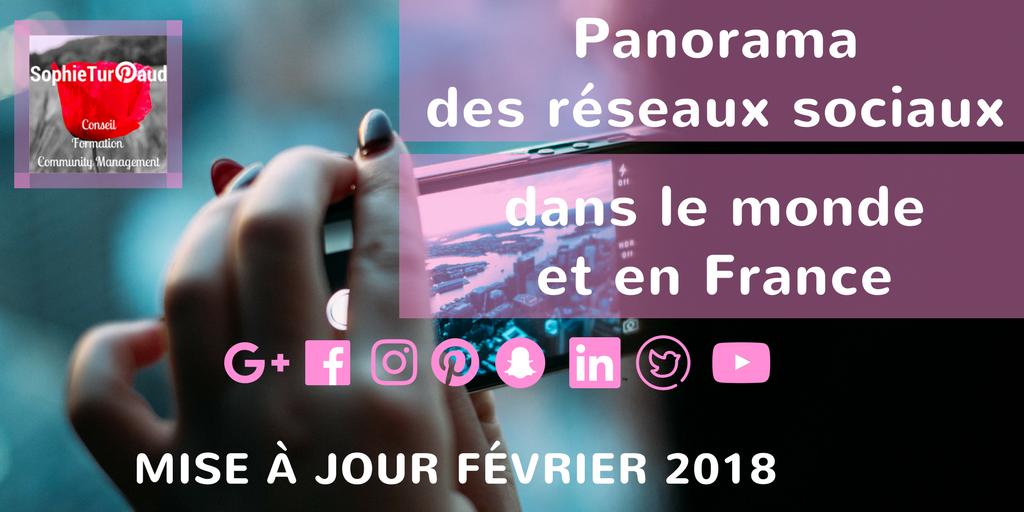 Panorama des réseaux sociaux dans le monde et en France Fevrier 2018 via @sophieturpaud