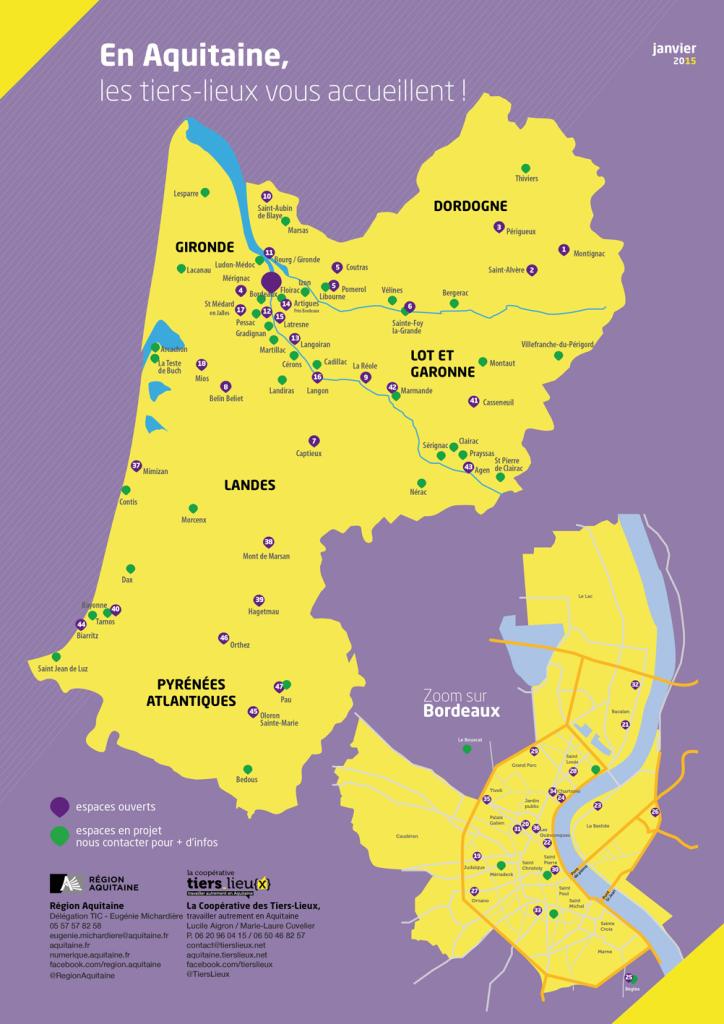 Carte des tiers lieux aquitains