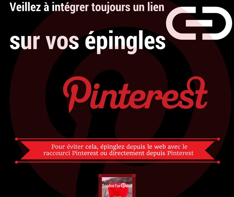 Astuce Pinterest : intégrer un lien pour chaque épingle.