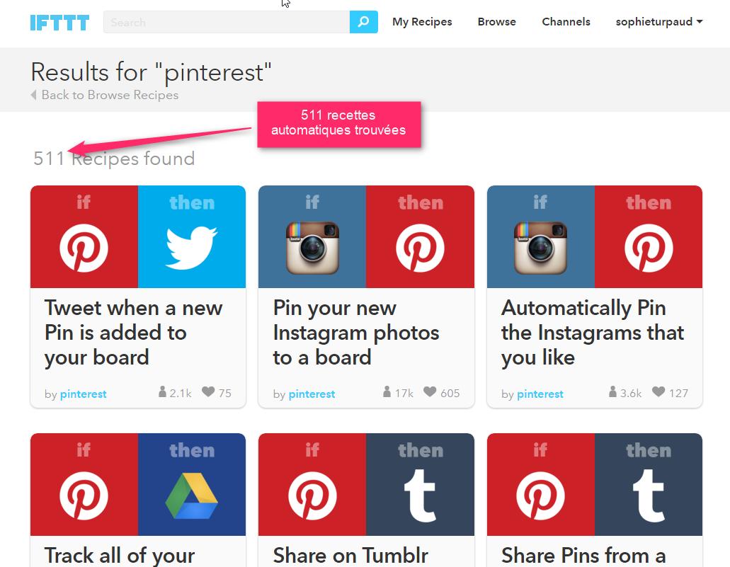 ifttt pour automatiser certaines tâches avec Pinterest via @sophieturpaud