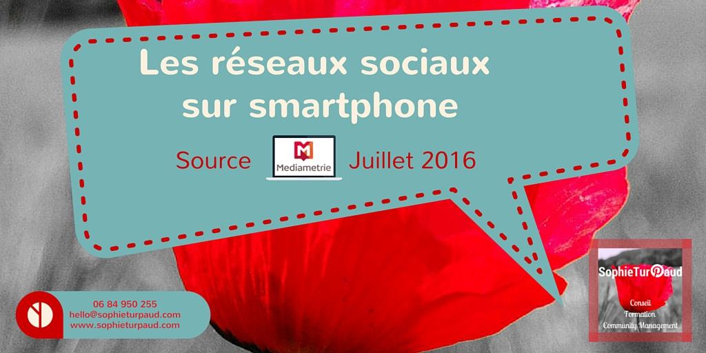 Les réseaux sociaux sur smartphone en France en Juillet 2016