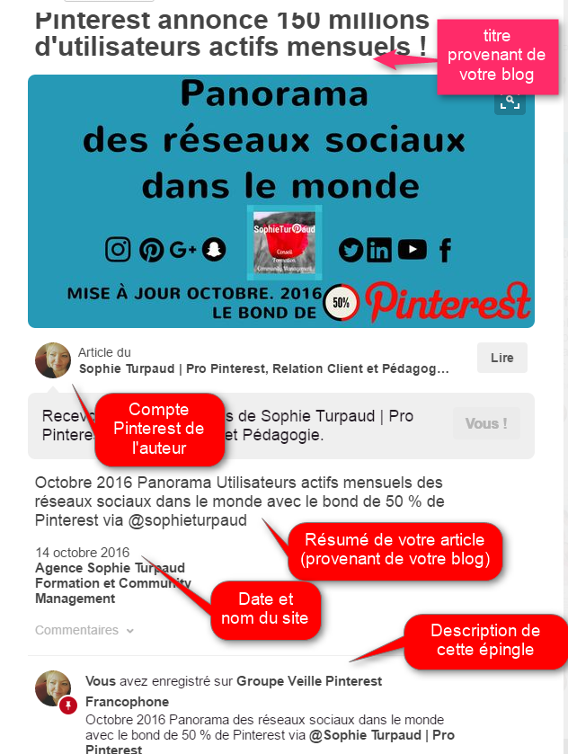 Exemple d'épingle enrichie d'article sur Pinterest via @sophieturpaud
