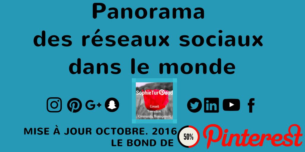 Octobre 2016 Panorama des réseaux sociaux dans le monde avec le bond de Pinterest via @sophieturpaud