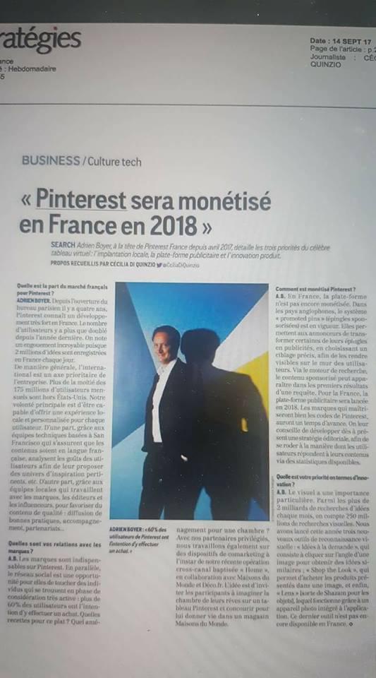 Pinterest sera monétisé en France en 2018