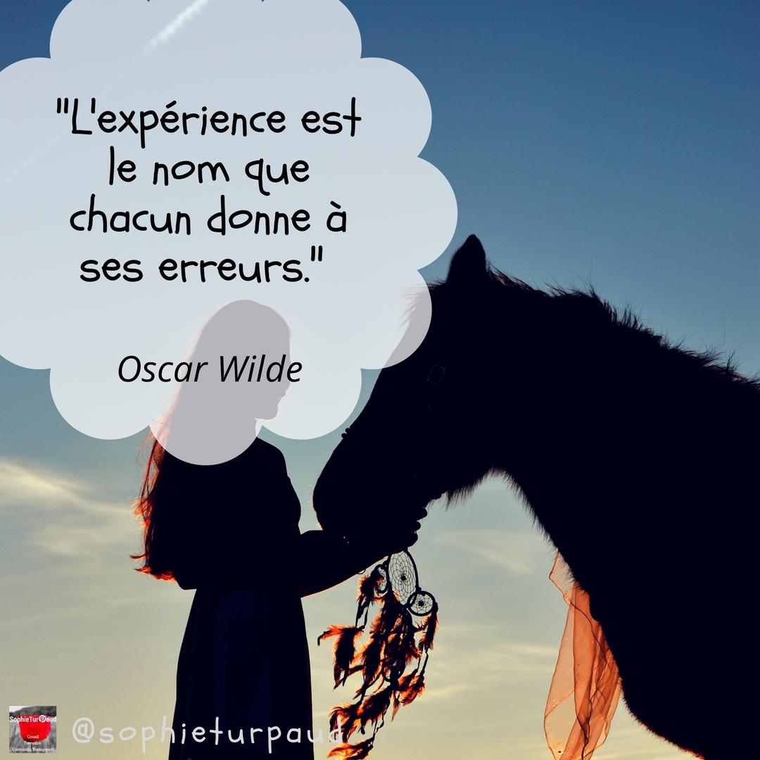 Citation d'Oscar Wilde _ L'expérience est le nom que chacun donne à ses erreurs via @sophieturpaud