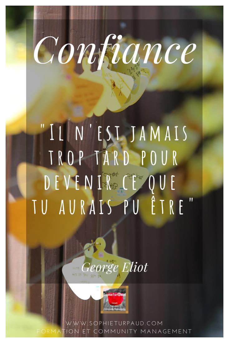 Il n'est jamais trop tard pour devenir ce que tu aurais pu être_ George Eliot #confiance #citation via @sophieturpaud