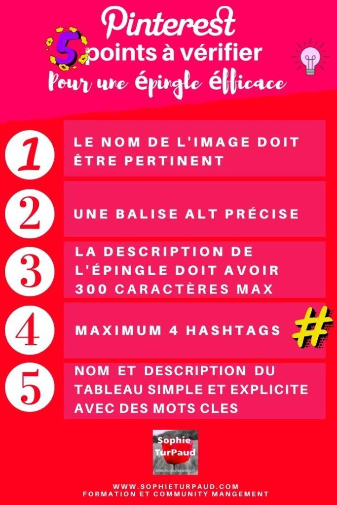 Check list en 5 points pour une épingle Pinterest efficace via @sophieturpaud