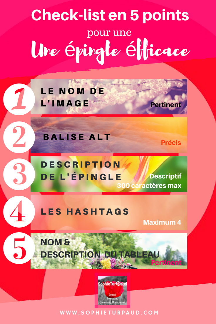Check list en 5 points pour une épingle Pinterest efficace via @sophieturpaud