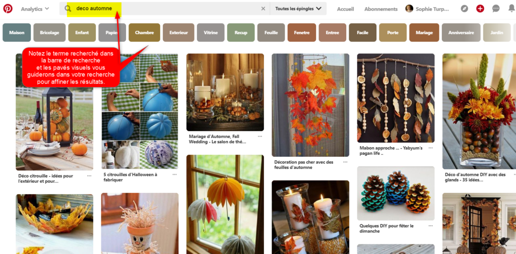 Recherche guidée visuelle sur Pinterest