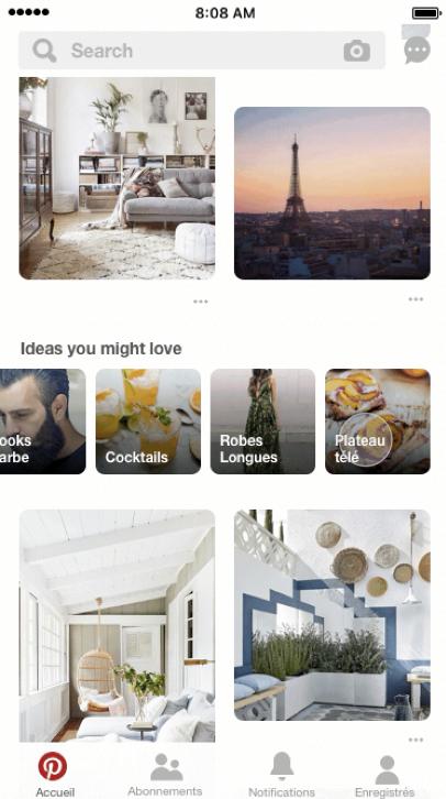 """Spotlight Pinterest France : l'onglet Explorer laisse la place à """" des idées qui pourraient vous plaire"""" / #pinterestmarketing"""