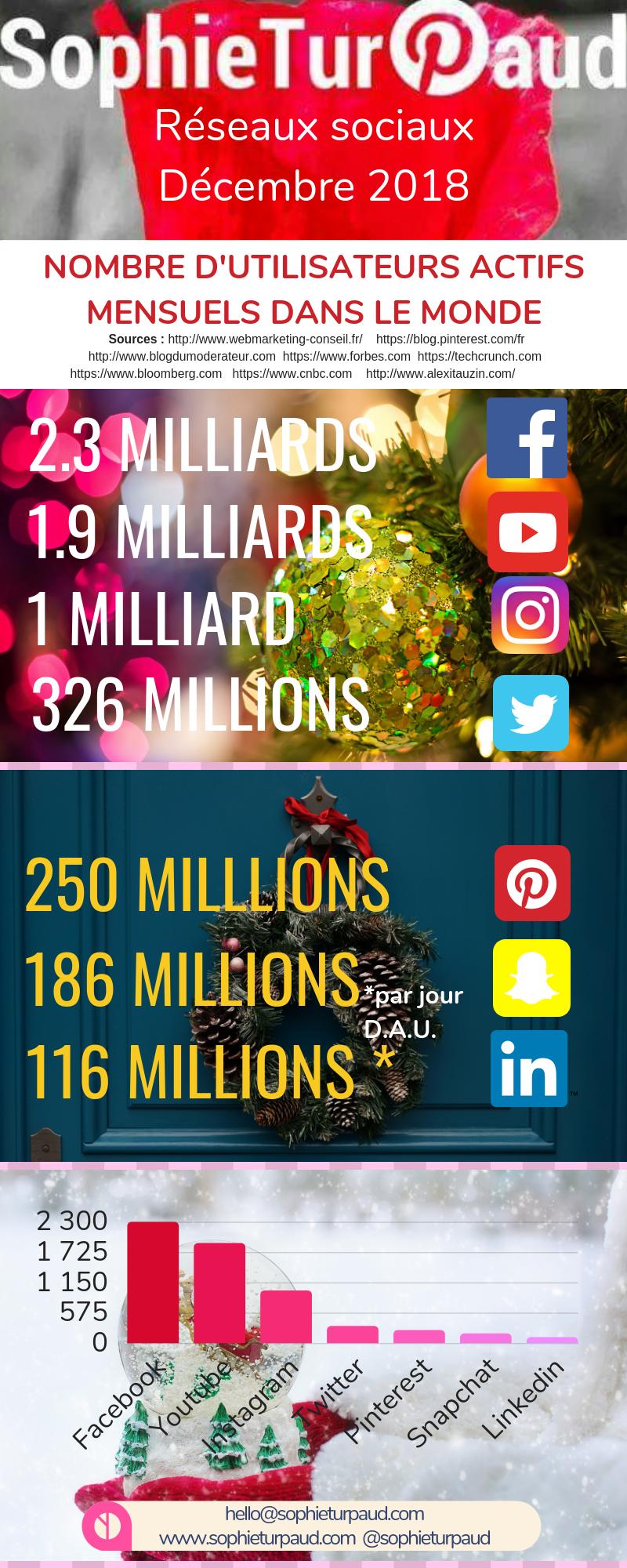 Infographie réseaux sociaux mise à jour décembre 2018 via @sophieturpaud #socialmedia