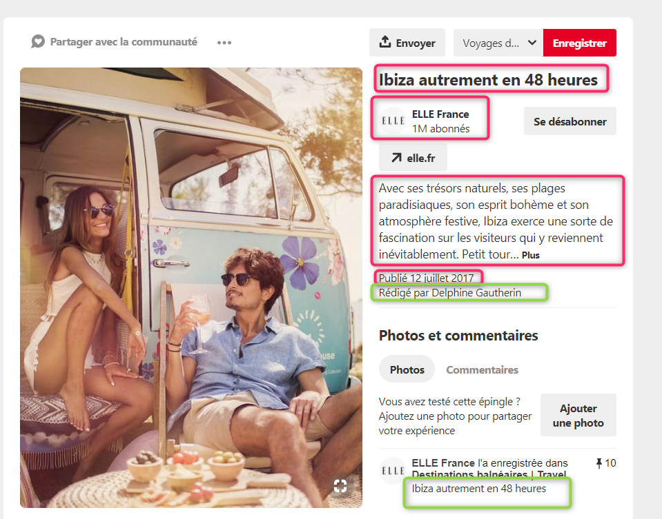 Épingle enrichie d'article sur Pinterest pour ELLE via @sophieturpaud