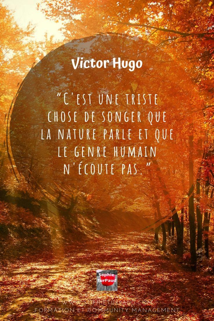 #Citation Victor Hugo C'est une triste chose de songer que la nature... via @sophieturpaud