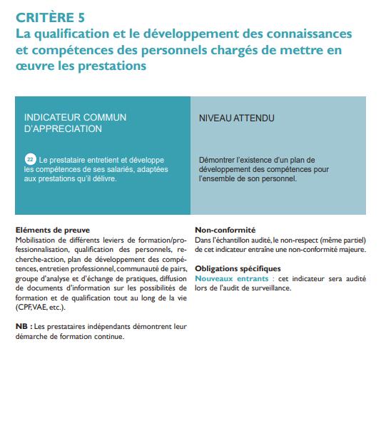 Critères 5 la qualification et le développement des compétences Qualiopi détails suite