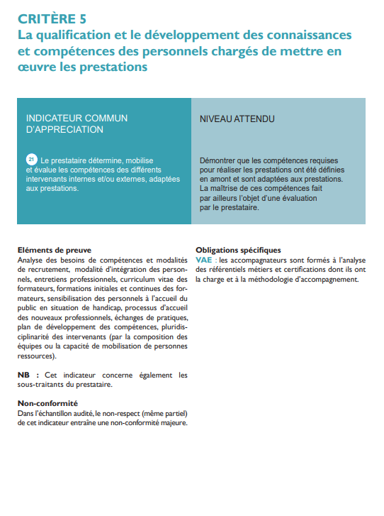 Critère 5 qualification et le développement des connaissances . Qualiopi