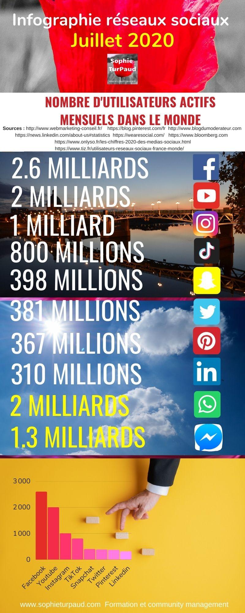 Infographie chiffres réseaux sociaux 2020 via @sophieturpaud