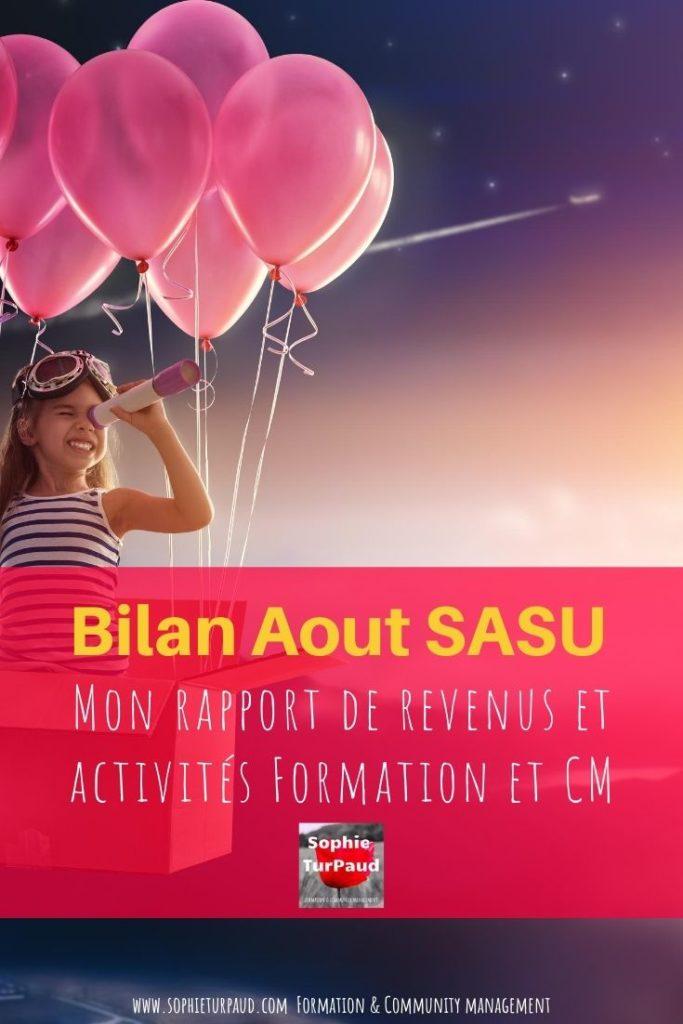 Aout 2020 Mon rapport de revenus et activités en SASU via @sophieturpaud
